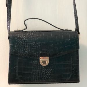 Black Faux Snakeskin Crossbody Bag